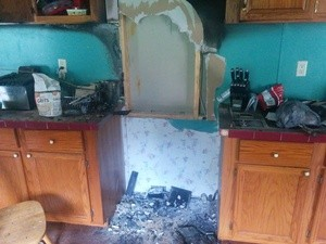 Damage In Kitchen After A Grease Fire