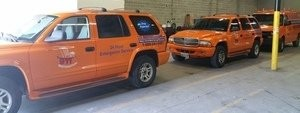 Smoke and Fire Damage Restoration Trucks At Headquarters